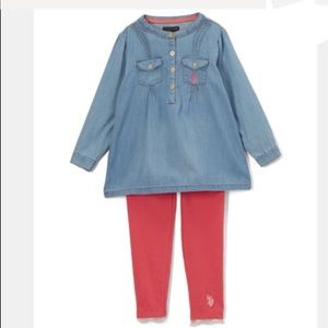Other - New U.S. Polo blue jean tunic with leggings